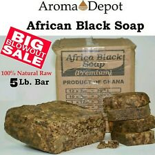 5 lb. African Black Soap BAR, Raw Organic Unrefined from GHANA 100 % Natural