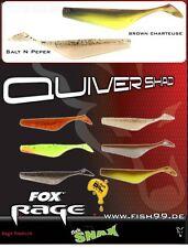 16 Stück Fox Rage Quiver Shad NSL 024 Brown Chartreuse + NSL 020 Salt N Peper