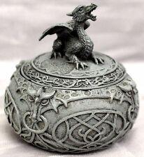 Round Roaring Dragon Celtic Trinket & Jewelry Box Gothic Fantasy Free S&H