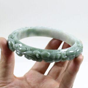 81mm Certified A Natural Green carved Jadeite Jade Bangle Bracelet  j3604
