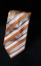 Canali Made Italy Men's Necktie Woven Silk Orange Gold Repp Stripe Tie