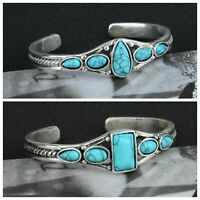 Boho Women Tibetan Silver Green Turquoise Open Bangle Cuff Bracelet Jewelry Gift