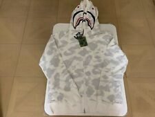 AUTHENTIC APE BAPE CITY CAMO SHARK WIDE FULL ZIP DOUBLE HOODIE WHITE XL 2XL NEW