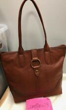 NEW! Frye Leather Large Ring Tote Shoulder Bag Purse Cognac Brown GORGEOUS $428.