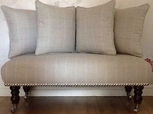 Long Footstool Stool & 4 Cushions Laura Ashley Elmore Linen Fabric