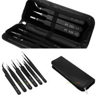 6Pcs ESD Precision Tweezer Stainless Steel Anti Static Maintenance Tool with Bag