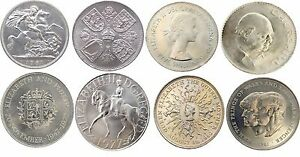 FULL SET OF CROWNS FROM 1951 TO 1981 8 COINS CROWN COLLECTION