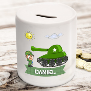 Personalised kids childrens money box army tank military - gift present idea