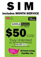 Simple Mobile SIM CARD W/ $50 UNLIMITED 30 DAYS > FAST SHIPPING > Trusted Seller
