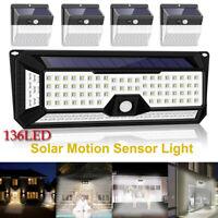 136 LED Solar Power PIR Wall Lights Garden Outdoor Motion Sensor Security Lamp