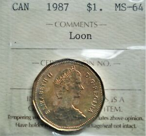 1987 Canada $1 Loonie ICCS MS-64