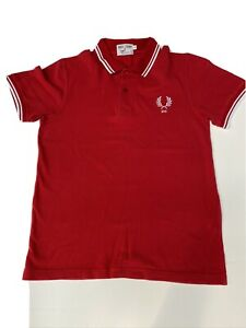 Fred Perry Size Small Red 100% Cotton Short Sleeve Polo Shirt