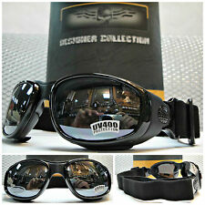 NEW Men's ATV MOTORCYCLE BIKER STYLE PADDED DAY RIDING SUN GLASSES Black GOGGLES