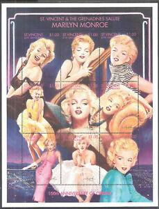 St Vincent 1995 Marilyn Monroe 100th Anniv Cinema Souvenir Sheet MNH (SC# 2209)