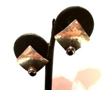 Vintage Oxidized Sterling Silver 925 Black Onyx Geometric Square Stud Earrings