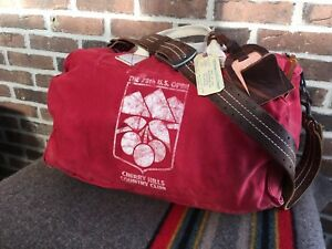VINTAGE 1978 US OPEN RED BATTENKILL CANVAS & LEATHER USA DUFFLE GYM BAG R$798