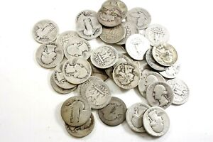FORTY UNITED STATES 90% SILVER QUARTERS MIXED DATES & MINTS AVERAGE