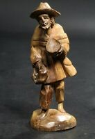 Vintage German Black Forest Brienz Wood Carving Miniature Figurine Beggar Man