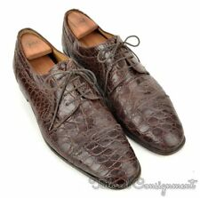 ZELLI Solid Brown GENUINE CROCODILE Mens Oxford Derby Dress Shoes - 12 M