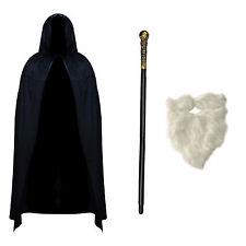 Disfraz Para Adulto De Mago Hechicero (capa de terciopelo, personal & Barba Blanca)