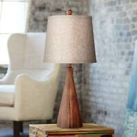 Mid Century Modern Table Lamp Wood Cone Oatmeal for Living Room Bedroom