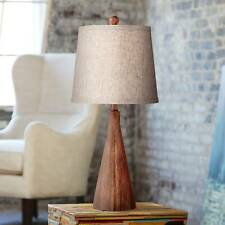 Mid Century Modern Table Lamp Wood Cone Oatmeal for...
