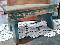 """VINTAGE PRIMITIVE GREEN CHIPPY FOOT STOOL Wood 14"""" Long, Country, Green Paint"""