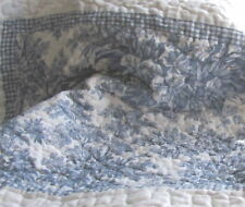 Pair shabby BLUE WHITE SHAM FRENCH COUNTRY Toile COTTAGE Quilted chic Paris