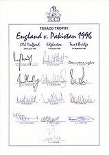 ENGLAND Official CRICKET 1996 Texaco Trophy v Pakistan SIGNED Team Sheet