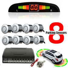 Front&Rear 8 Sensors Car Reverse Parking Kit LED Buzzer Alarm Silver with Switch