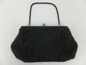 Vintage 1940s Whiting & Davis BLACK MESH EVENING BAG Purse Made in USA