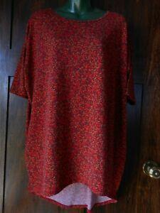 Lularoe Irma Medium t shirt red green yellow casual comfort Long tail womens