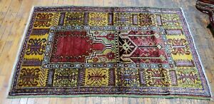 Natural Dyed Antique 1930-1940s Wool Pile 3'×5' Tribal Dowry Rug