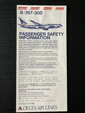 Delta Air Lines Boeing 767-300 Safety Card