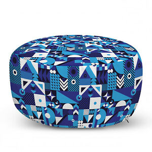 Ambesonne Navy Color Ottoman Pouf Decor Soft Foot Rest & Removable Cover