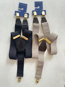 New 2 Pair Club Room Men's Elastic Diamond Suspenders Black Khaki Adjustable OS