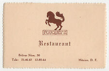 1930s FOUQUET'S RESTAURANT Business Card MEXICO CITY Mexican MX Mex BOLIVAR
