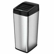 iTouchless 14 Gallon Stainless Steel Rectangular Sensor Trash Can with Retracti