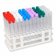 60 Tube - 16x150mm Plastic Test Tube Set with Assorted Caps and White Rack