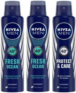 NIVEA 48 H Fresh Ocean Deodorant For Men, 150ml (Buy 2 And Get 1 Free NIVEA Prot