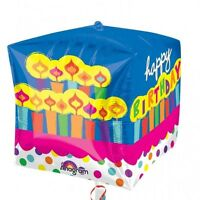 HAPPY BIRTHDAY CUBEZ SQUARE SHAPED FOIL BALLOON PARTY DECORATION CANDLES