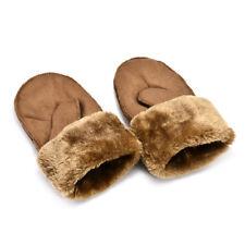 Women's Girl Real Sheepskin Mittens Gloves Fur Trim Leather Winter Warm Glove TR