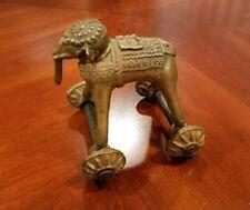 Antique Handcrafted Brass Elephant Figurine On Wheels- Massage Tool?