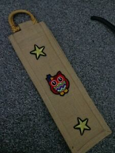 handmade hessian wine / bottle bag with owl and stars motif great for gifts
