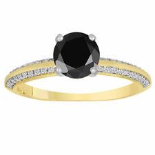 Enhanced Fancy Black Diamond Engagement Ring 14K Yellow Gold Micro Pave 1.29 Ct