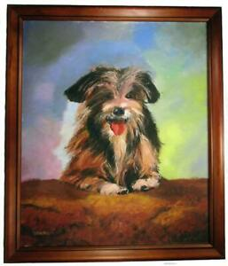 Silky Terrier Dog Hand Paint Oil Painting Framed Signed Titled Scruffy 67 x 57cm
