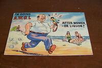 Rare Vintage Antique Postcard Humorous Comic Funny Going AWOL After Liquor Women