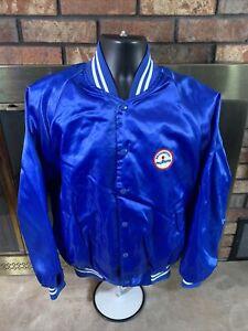 Vintage Washington Bullets Wizards NBA Basketball Satin Snap Jacket Mens XL Blue