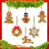 6Pcs Christmas Tree Ornament Polymer Clay Pendants Hanging XMAS Home Decor Gift