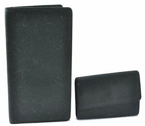 Authentic Louis Vuitton Taiga Long Wallet Key Case Green 2Set LV D3774
